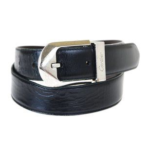 CARTIER Logos Buckle Belt Leather Brown Black Silv